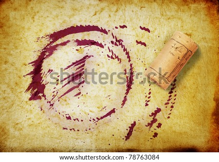 Cork and whine stains - stock photo