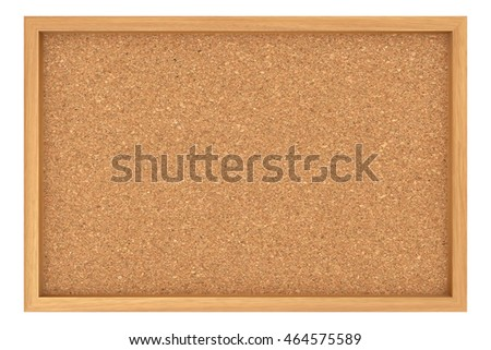 Cork Billboard With Wooden Frame Isolated On White Background, 3d illustration