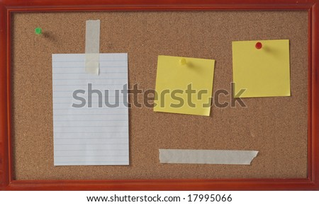 cork board and blank notes