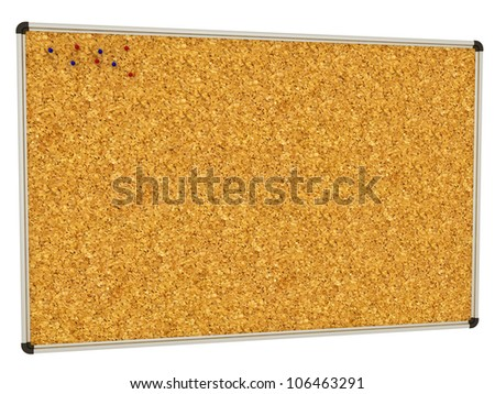 Cork-board background with push pins angled with room for copy space on a white background - stock photo