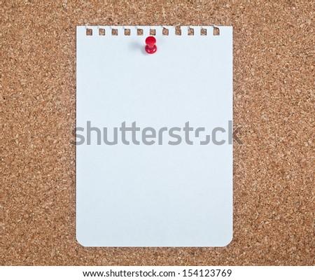Cork Board, Blank Note Paper - stock photo