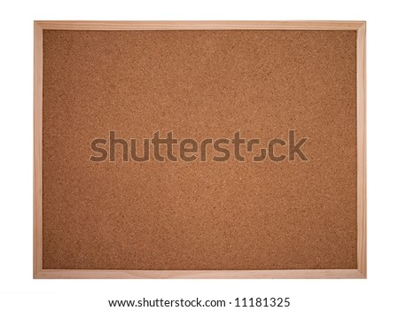 cork board framed with wood isolated on white - bulletin board - stock photo