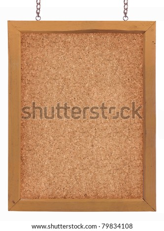 Cork board hang with chain, isolated on white - stock photo