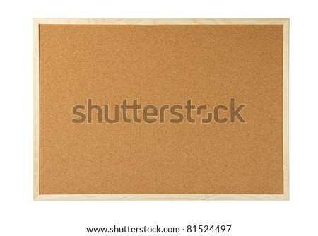 Cork board isolated on white with clipping path