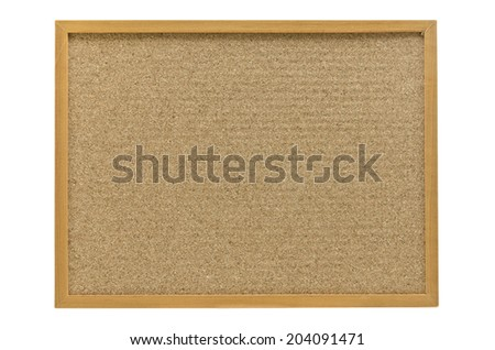 cork board with a wooden frame isolated on white background