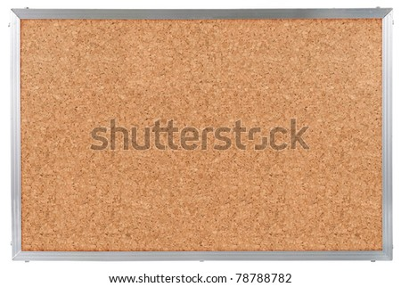 Cork board with aluminum frame. isolated on white - stock photo