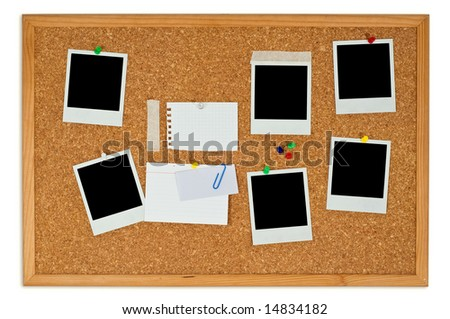 Cork board with blank instant photos and notes isolated on a white background - stock photo