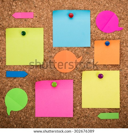 cork board with blank notes - stock photo