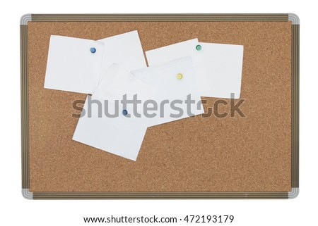 Cork board with blank notes isolated on white background - clipping path