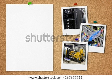 Cork board with blank paper and power generator and server room's instant photo. - stock photo