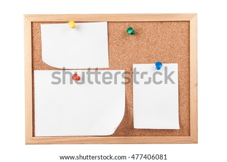 Cork board with blank papers isolated on white
