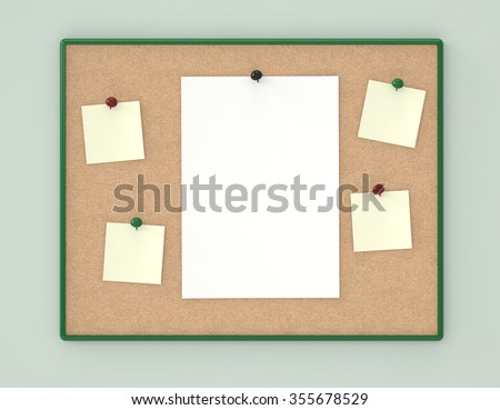 cork board with blank sheets of paper on green background