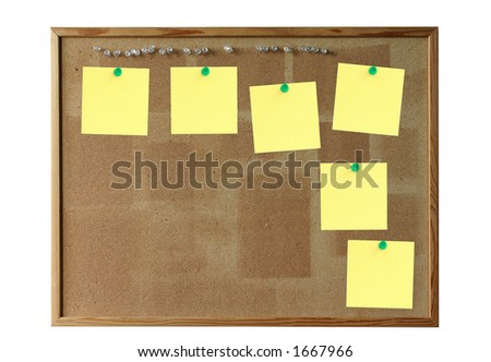 cork board with empty post-its