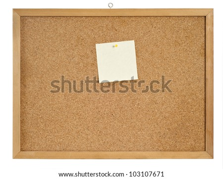 Cork board with hanger and one bulletin. include clipping path. - stock photo