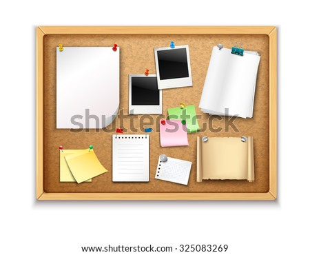 Cork board with pinned paper notepad sheets and photos realistic  illustration - stock photo