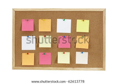 Cork board with various note papers