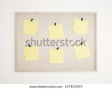 Cork bulletin board with notes - stock photo