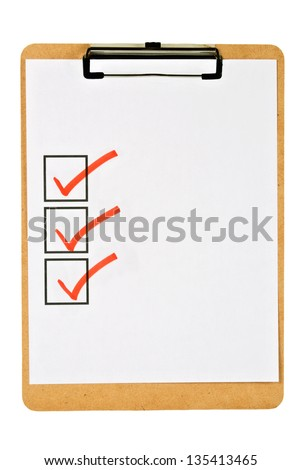 cork clipboard holding blank white paper that has three square boxes checked off with a red marker. Isolated on white. - stock photo