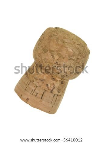 Cork close up; isolated on white background - stock photo