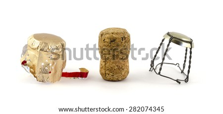 Cork from champagne bottle, isolated on the white background - stock photo