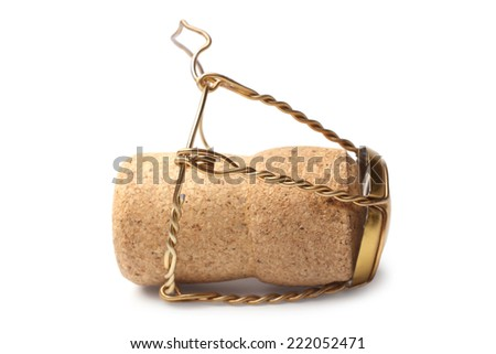 Cork from champagne bottle on white background - stock photo