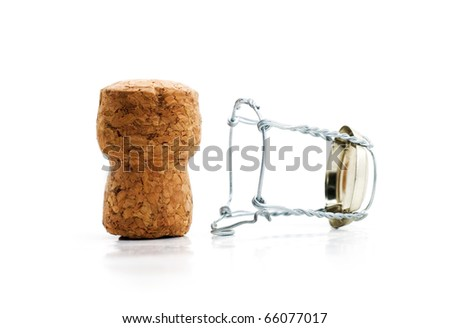 cork from champagne, white background - stock photo