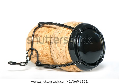 Cork from sparkling wine (champagne) bottle on white background