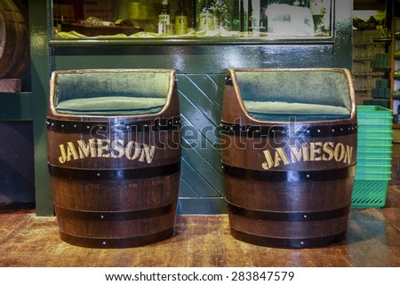 CORK, IRELAND - JUNE 20, 2008: Decorative Jameson Irish whiskey barrel armchairs at the Jameson Heritage Center  in Midleton Co. Cork, 12 miles east of Cork City on the main Cork Waterford Road.  - stock photo