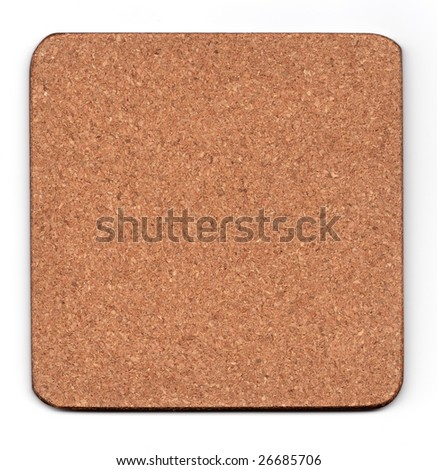 cork mat isolated on white, smalll natural shadow underneath