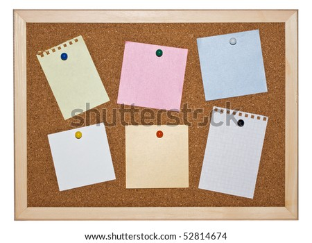 Cork memo board background with notice papers - stock photo