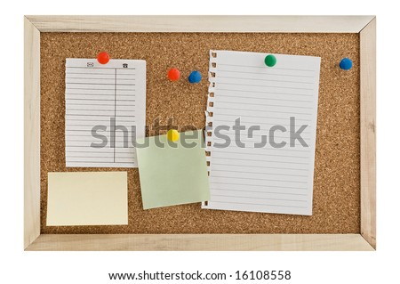 Cork Pin Board  with  a sheet of notebook paper, post it notes, and thumbtacks. - stock photo