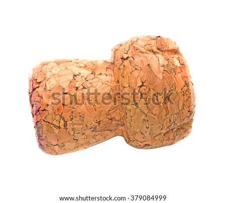 Cork wine on a white background - stock photo