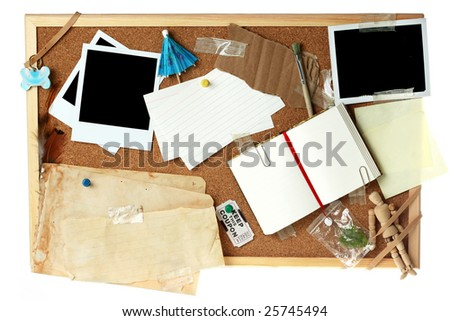 Corkboard full of blank items for editing - stock photo