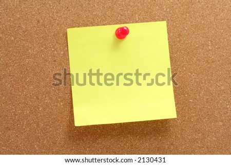 corkboard, notepaper and pushpin