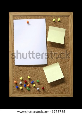 Corkboard with blank paper, pins and post-it. - stock photo