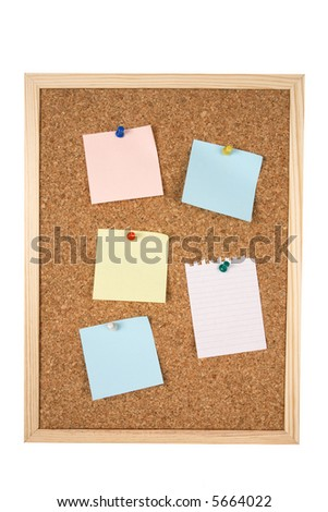 Corkboard with clipping path and blank notes ready for your text.