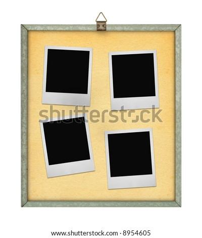 corkboard with four photo frames isolated on white background