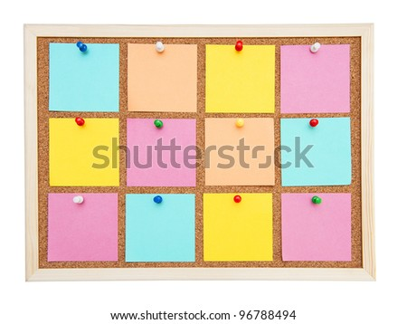 Corkboard with many postit - stock photo