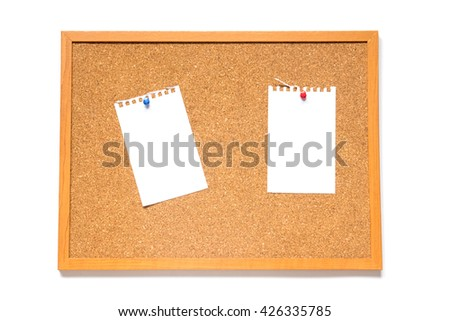 Corkboard with paper placed on white background - stock photo
