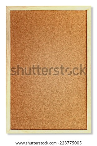Corkboard with wooden frame isolated