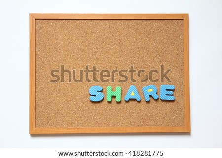 Corkboard with wording share placed on white background - stock photo
