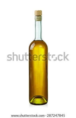 Corked bottle with wine isolated over white background - stock photo