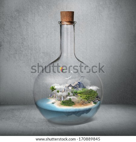 Corked glass bottle with beautiful island and sea inside. Microclimate, environment protection, quiet place concept - stock photo