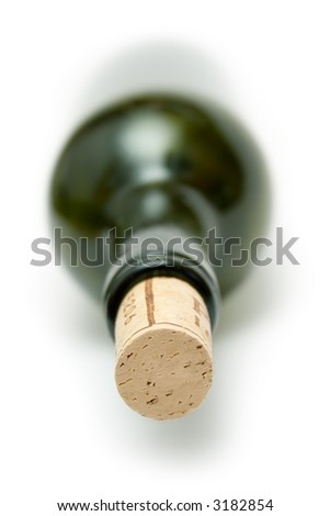 Corked Green Wine Bottle - stock photo