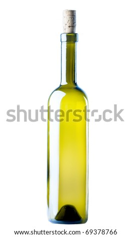 Corked Green Wine Bottle  isolated on a white background - stock photo