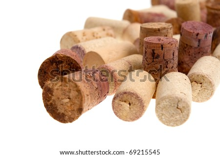 Corks from bottles guilt isolated on white background. - stock photo