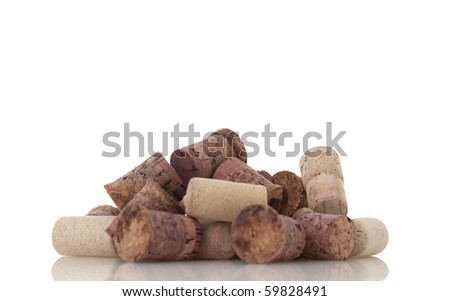 Corks from bottles guilt isolated white background. - stock photo