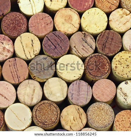 Corks from wine bottles background - stock photo