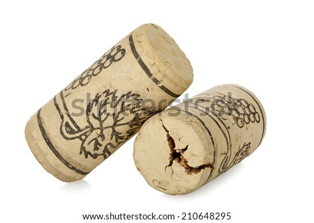 corks from wine bottles isolated on white - stock photo