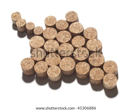 corks in shape of bunch isolated on white